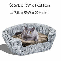 Elevated Pet Sofa Bed Dog Cat Basket Couch Rasied Wicker Willow Rattan w/Cushion