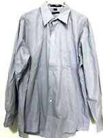 Dkny Donna Karan Mens Long Sleeve Button Down Dress Shirt Blue Size 17.5 XL