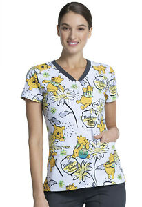 Winnie The Pooh Cherokee Scrubs Tooniforms Disney V Neck Top TF699 PHLY
