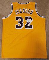 Magic Johnson Signed Custom Jersey Los Angeles Lakers Beckett Witnessed COA