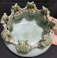RARE Finest Antique MAJOLICA Glazed Pottery Planter 8 SITTING FROGS OnA Lily Pad