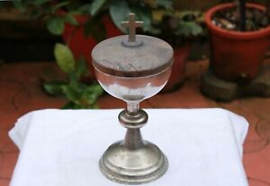 Antique Ciborium Silver Cross Monstrance Chalice Catholic Church Altar Goblet