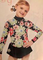 GK WINTER DAISY CHILD SMALL FLORAL FOIL PRINT LgSKV FIGURE SKATE DRESS CS NWT!