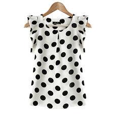 AU Women Casual Sleeveless Dots Chiffon Blouse Shirt Summer Loose T Shirt Top