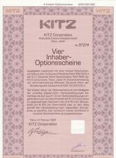 KITZ Corporation - 4 Inhaber-Optionsscheine -  Tokio im Februar 1991