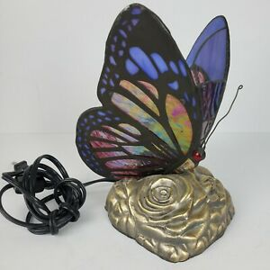 Vintage Stained Glass Handcrafted Butterfly Night Light Table Desk Lamp 9x6x6