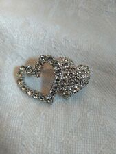 Beautiful Vintage Authentic Swarovski Double Heart Brooch Pin