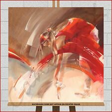 Ballet Dancer Canvas Large Framed Box Modern Dance Print Picture Red Cream Brown