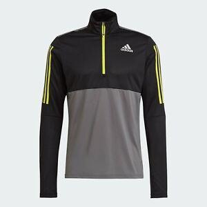 GM6318 | Adidas Own the Run 1/2 Half Zip Performance Top | Grey Black | Large