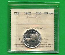 1962 Canada Silver 25 Cent Graded ICCS MS64 Certification # SG 104