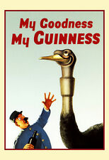 Vintage Guinness Poster, Ostrich vs Zoo Keeper, My Goodness, My Guinness, Beer