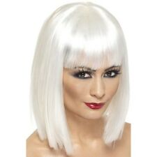 Womens White Glam Wig Short Blunt Fringe Fancy Dress Beauty Model Bob Colour Fun