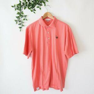 Peter Millar Men's Short Sleeve Collared Polo Shirt M Medium Coral Pink