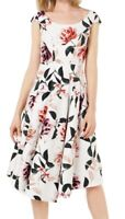 Calvin Klein Womens Dress White Size 8 A-Line Fit & Flare Floral Print $139- 398