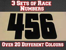 """3 X 6"""" números de carrera de 150mm Motocross Personalizado Pegatinas De Vinilo Calcomanías MX Bici N27"""