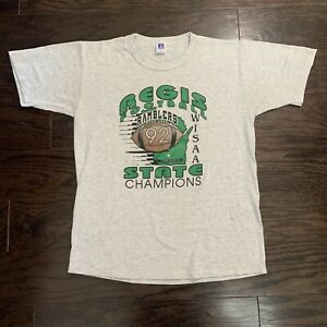Vintage Regis Ramblers High School Football State Champions Shirt Mens Large 92'