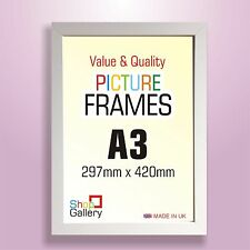 A3 Picture Photo Frames WHITE MDF WOOD Styrene GLASS