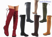 NEW Women's Fashion Thigh Knee High Low Heel Riding Boots Shoes Size 5.5 - 10