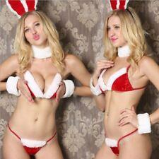 Sexy Christmas Costume Santa Outfit Lingerie Bikini Bra Set Nightwear XMas Bunny