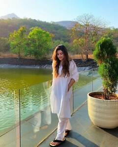 Stitched Women Ladies Shalwar Kameez White Cotton Pakistani Indian kurta Salwar