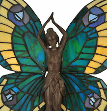 "BLUE GREEN BUTTERFLY LADY Tiffany Style Stained Glass 17"" Table Accent Lamp"