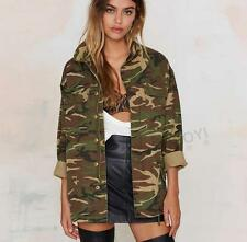 womens girls military Camouflage army jacket coat trench parkas outwear