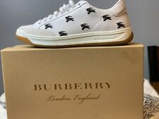 Burberry Men's Equestrian Logo White Leather Low-Top Fashion Sneakers Shoes