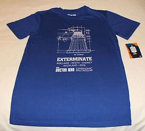 BBC Doctor Who Dalek Mens Blue Printed Short Sleeve T Shirt Size M New