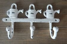 CAST IRON SET OF 3 HOOKS WATERING CANS WHITE VINTAGE STYLE FOR CLOTHES TOOLS