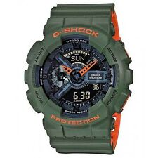 BRAND NEW CASIO G-SHOCK GA110LN-3A ARMY GREEN/ORANGE LAYERED ANA-DIGI WATCH