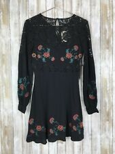Forever 21 Black Lace Boho Peasant Embroidered Floral Dress S Small RARE NWT