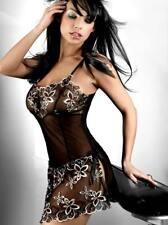 Ladies black flower top mini black mini dress party clubbing nightwear 8-12