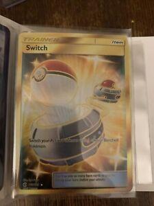 Switch 160/149 Secret Rare Gold Full Art Trainer Sun & Moon Base. NM Condition