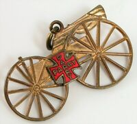 ANTIQUE GOLD FILLED RED ENAMEL CROSS PARRY PARRY BUGGY PENDANT CHARM CIVIL WAR