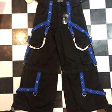 Tripp NYC Pants Women's  Size small Black/Blue Goth Chain Zipper Side Metal Punk