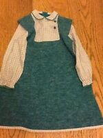 Mothercare vintage baby dress 110cms Retro Design Green Check