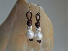 Pearl Leather Earrings With Silver Plated Beads 1.5'' long Fashion Jewelry