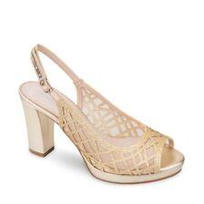 VALLEVERDE 4552 Sandalia Zapatos Tacón Alto Piel Red Elegante Mujer Platino