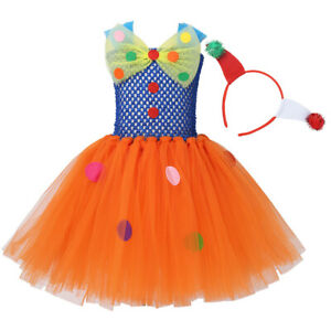 Girls Circus Clown Costume Outfit Child Fancy Dress Up+ Hair Hoop Carnival Party
