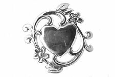 RETIRED RARE JAMES AVERY STERLING SILVER FLORAL FRAMED HEART PIN