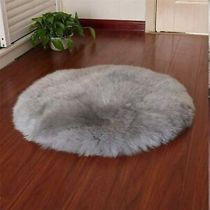 Faux Sheepskin Fur Rug, Fleece Chair Seat Pad Soft Fluffy Shaggy Area Rug, 90cm