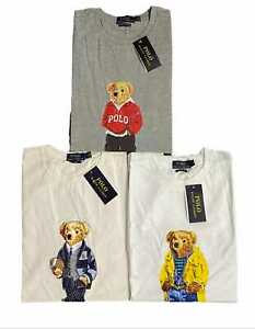 New Ralph Lauren Teddy Bear T shirt's in White,Grey & Off White Colour's