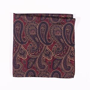 Polo Ralph Lauren Pocket Square 100% Silk Red Paisley Made in Italy Handkerchief