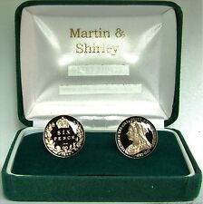 VICTORIAN OLD HEAD Cufflinks made from 2 real coins in Black and Gold
