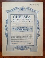 1929 Chelsea Palace Theatre Programme with Lovely Adverts for Local Businesses