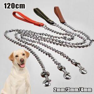Metal Chain Dog Lead Pet Puppy Leash 4ft 120cm Long Heavy Duty Anti-Chew Control