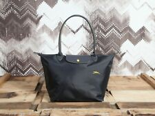 Longchamp New Le Club Pliage Nylon Tote Handbag Gun Metal Large Authentic France