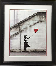 "BANKSY ""Red Balloon"" CUSTOM FRAMED Art Print Graffiti street political Activist"