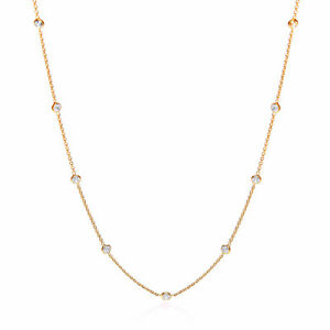 9 ct Yellow Gold Plated Chain Necklace Round Clear Cubic Zirconia Stones J JAZ
