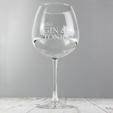 Personalised Gin & Tonic Balloon Glass Any Name G & T Birthday Christmas Gift